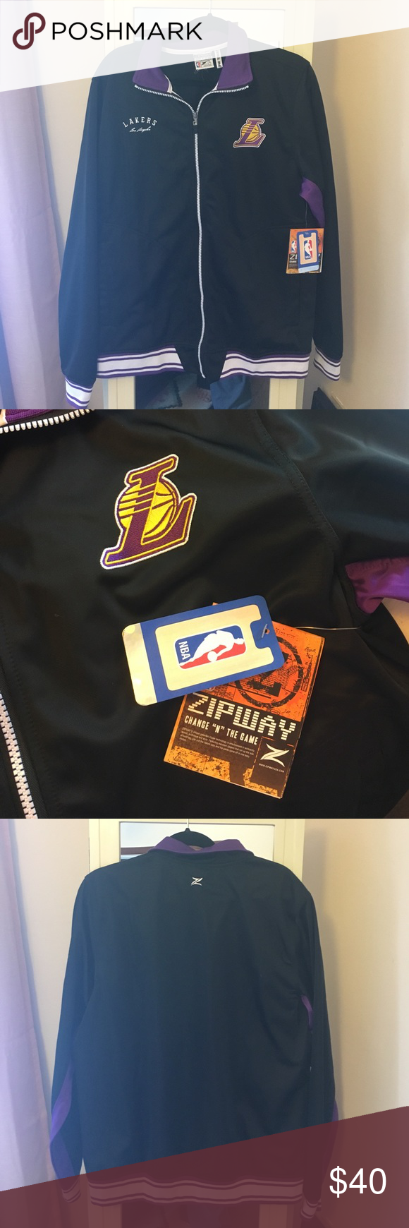 NWT Men's Lakers Zipway Jacket Brand New Men's Official NBA Apparel Lakers Zipway jacket. Never been worn, purchased from the NBA online store. NBA Jackets & Coats Lightweight & Shirt Jackets