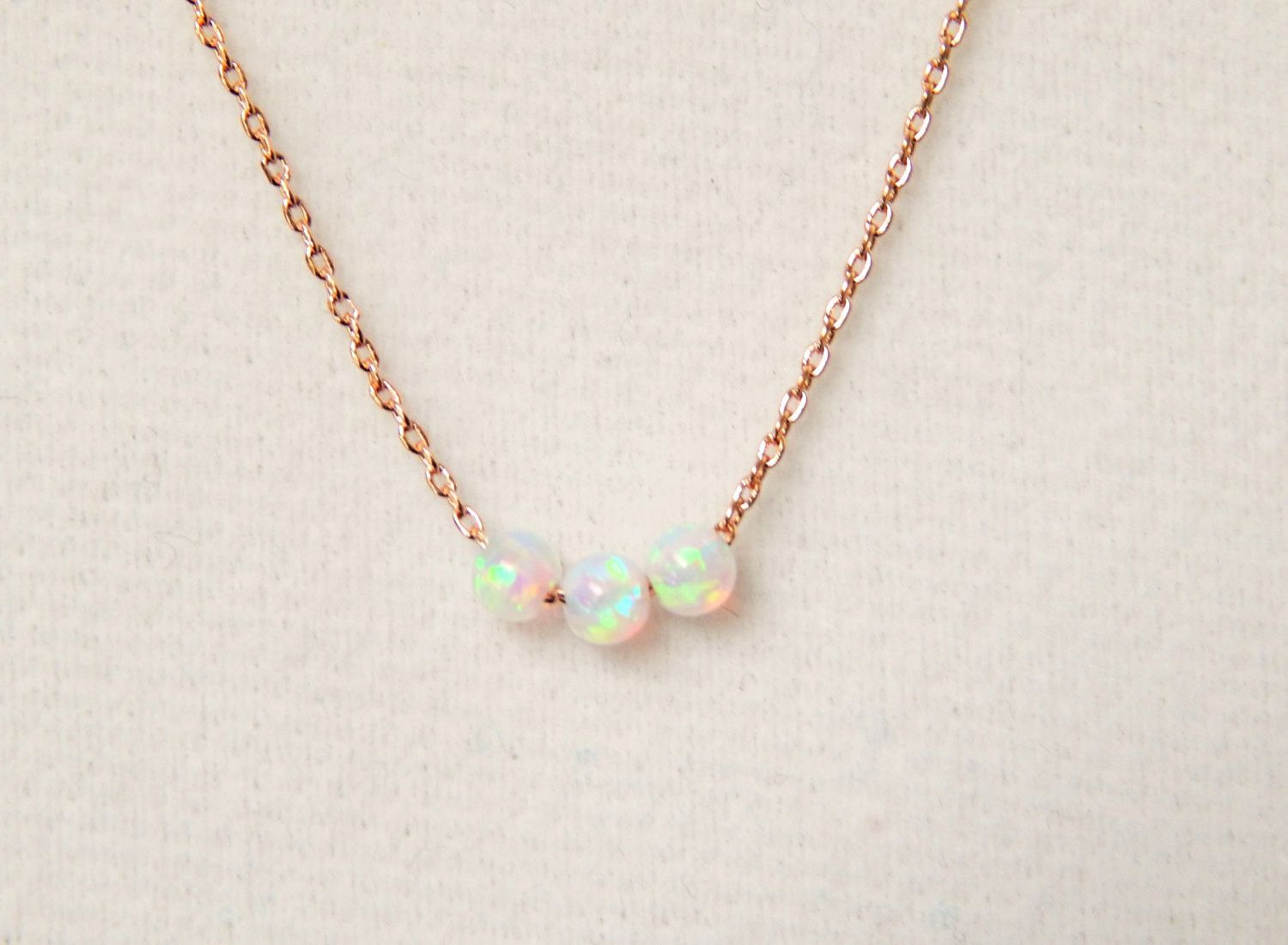 Rose Gold and White Opal Necklace Simple Elegant Necklaces