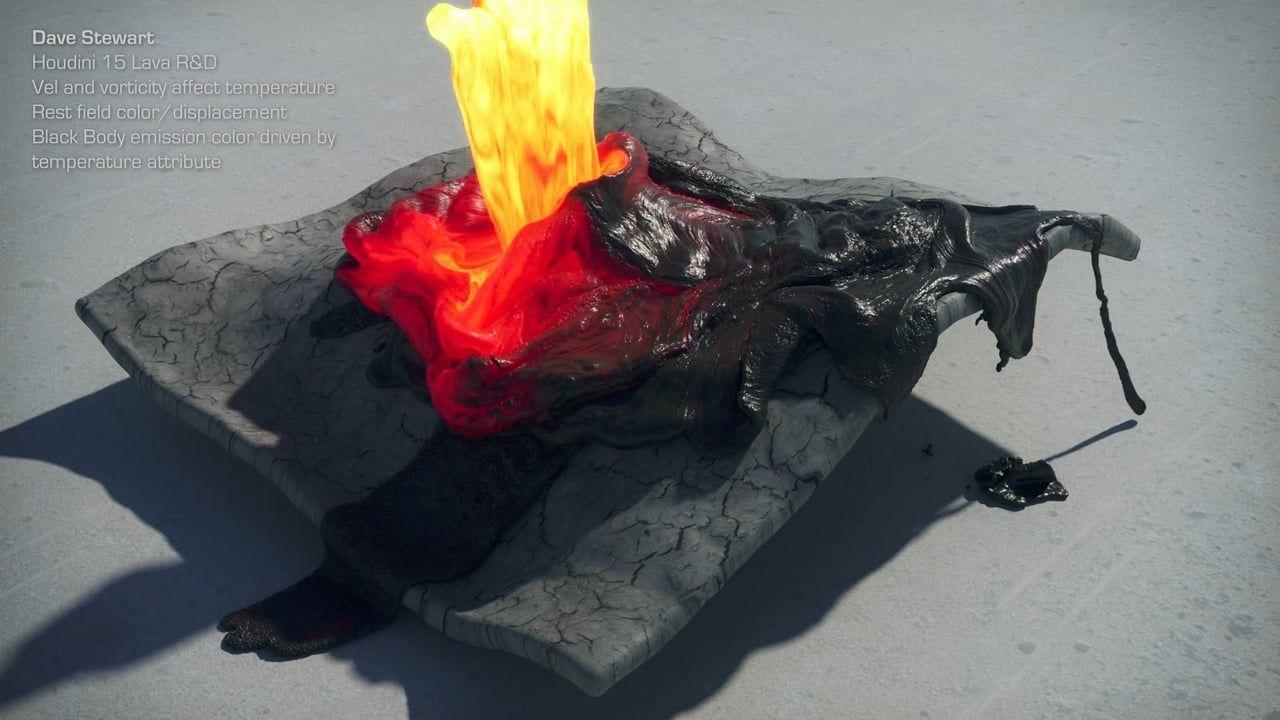 [hipnc] Houdini 15 FLIP Lava with Black Body emission - work in progress R&D from Dave Stewart @vimeo #hipnc