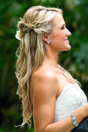 Twisted Half Up Bridal Hair With Curls Keep Hair Out Of Your Face