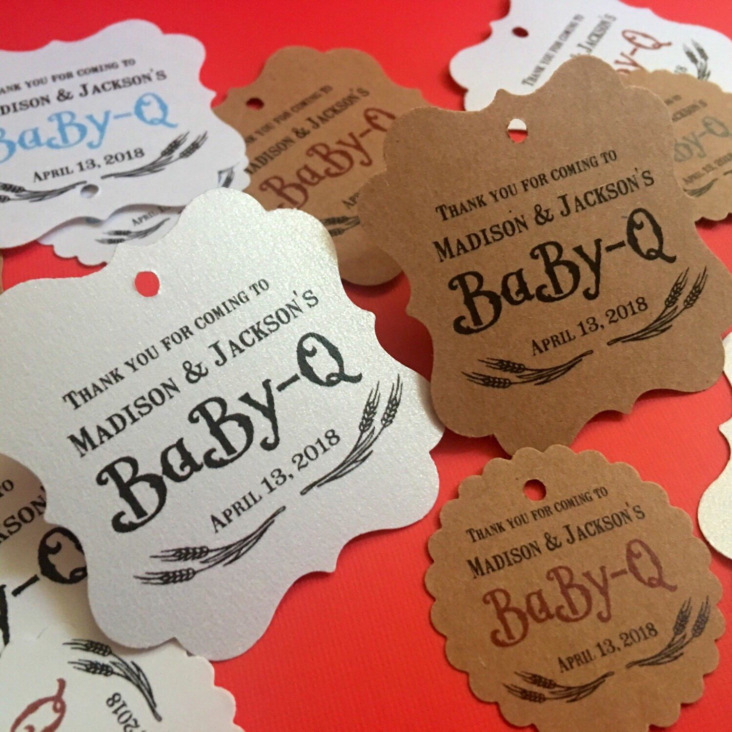 Baby q favor tags, baby shower, bbq theme baby shower, thank you favors,  baby shower favors