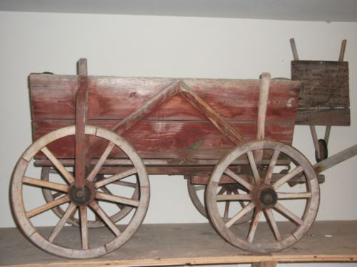 Small Antique Wooden Red Wagon Reduced Antique