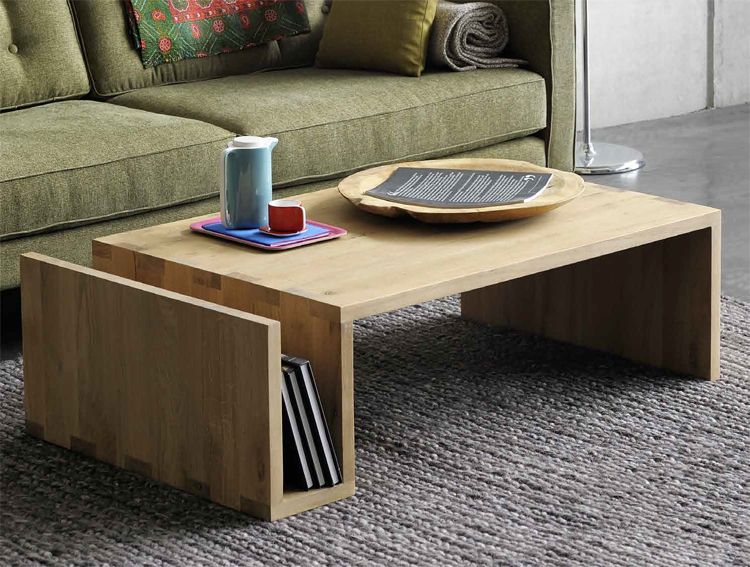 Nordic American country minimalist pure solid wood furniture retro coffee  table ecological wood wax Japanese side