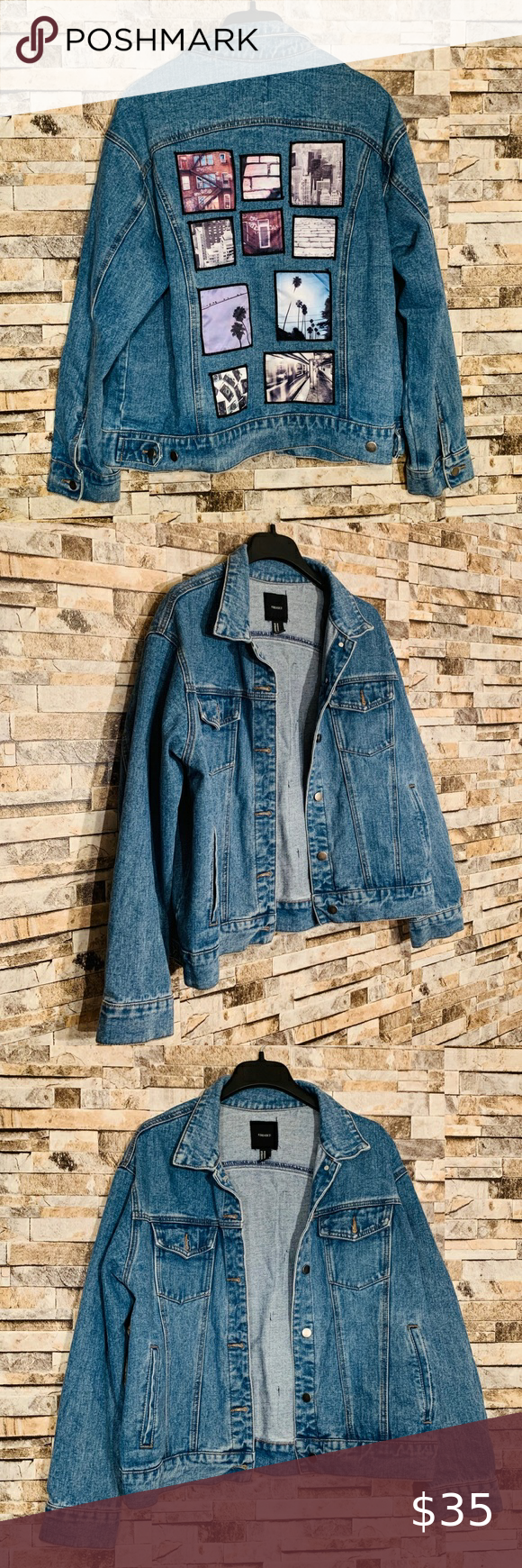 Forever 21 Polaroid Picture Jean Jacket Medium Wash Denim Full Front Buttons Oversized Fit Size Me Clothes Design Denim Jacket Oversized Denim Jacket [ 1740 x 580 Pixel ]