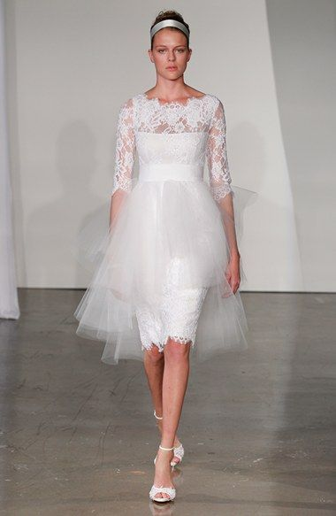 Marchesa Tulle Overskirt Embroidered Lace Dress Short Wedding
