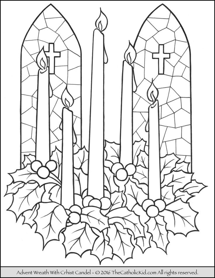 Advent Wreath Christ Candle Coloring Page | Kids advent ...