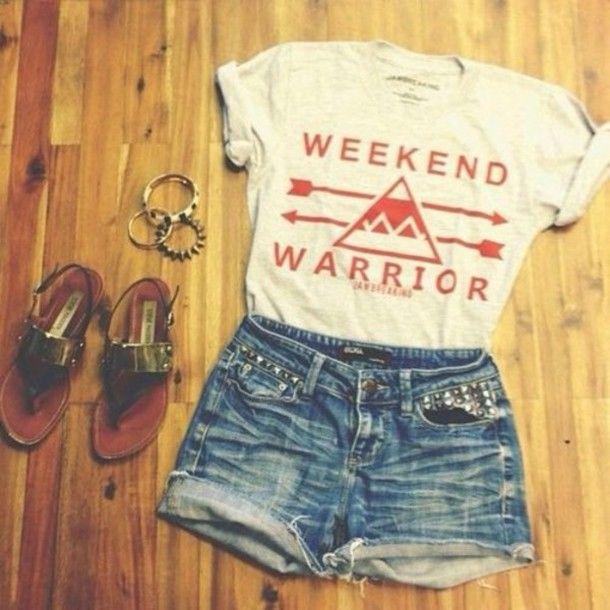 Shirt Weekend Warrior Tumblr Summer Fashion Summer Outfits - Teenage tumblr fashion