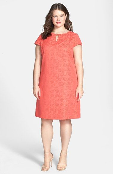 Tahari Cap Sleeve Jacquard Shift Dress (Plus Size) available ...
