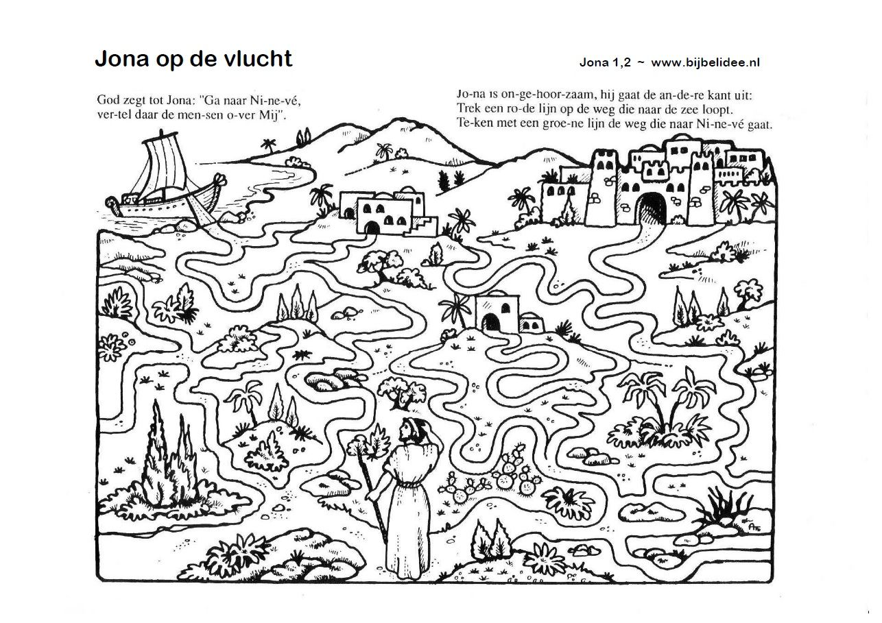 Jona Op De Vlucht Doolhof Jonah Maze Draw A Red Line To The Sea And A Green Line To Nineveh Sunday School Coloring Pages Bible Crafts Bible Worksheets