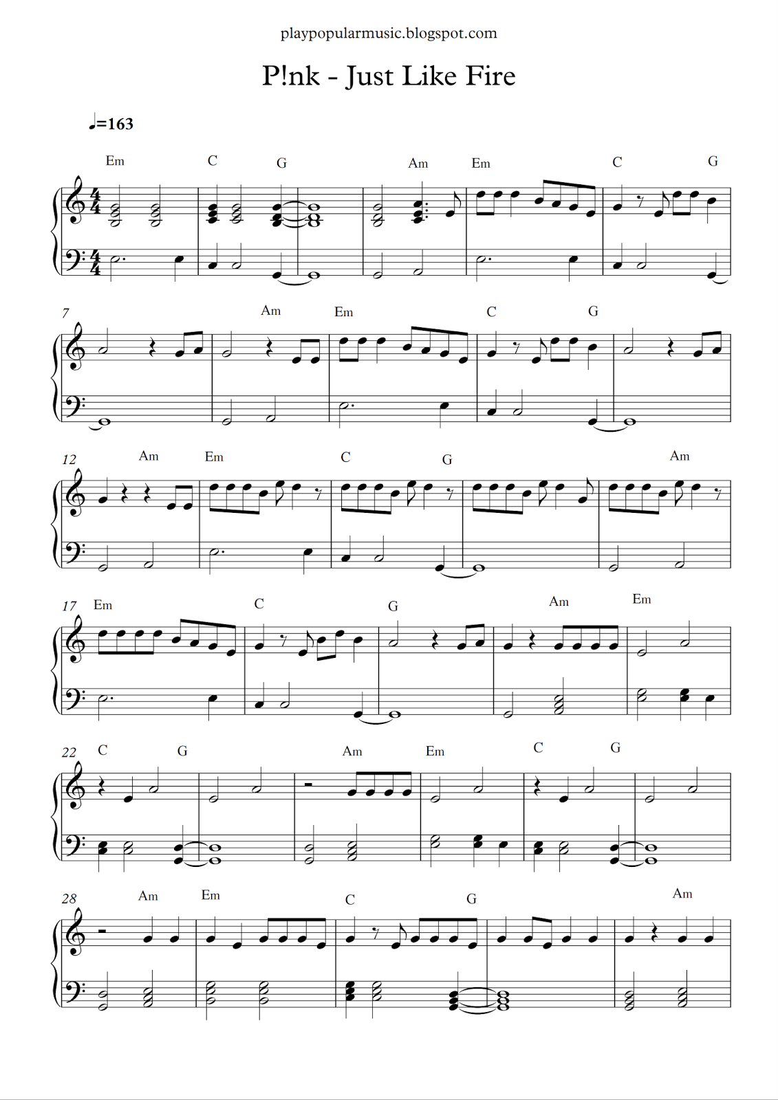 Free piano sheet music: P!nk - Just Like Fire pdf No one can