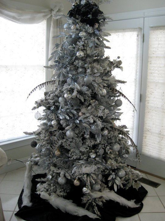 silvers and whites tree - Black Christmas Trees