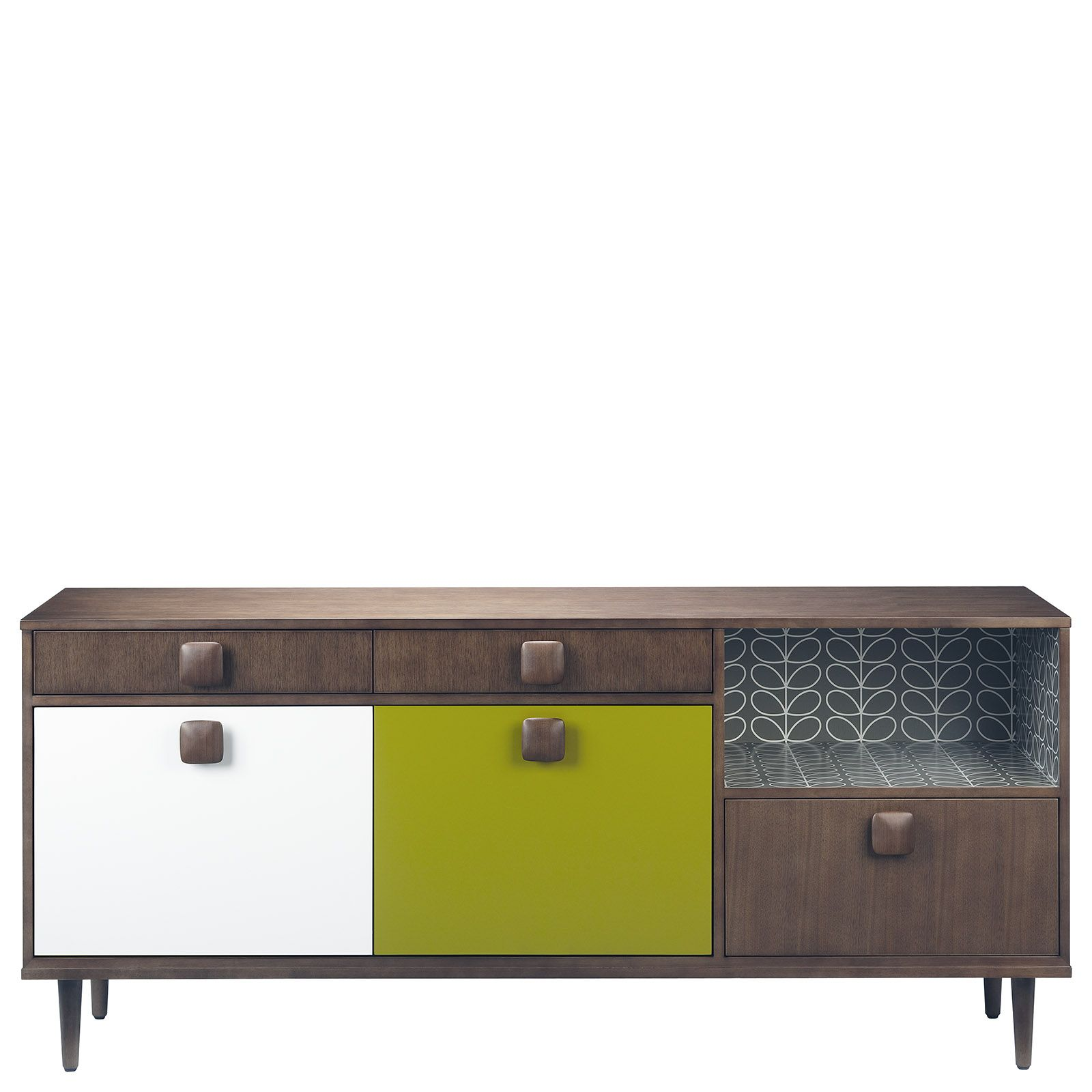 Orla Kiely: Walnut, Solid And Veneered Sideboard With Lacquered Olive And  Cream MDF Panels