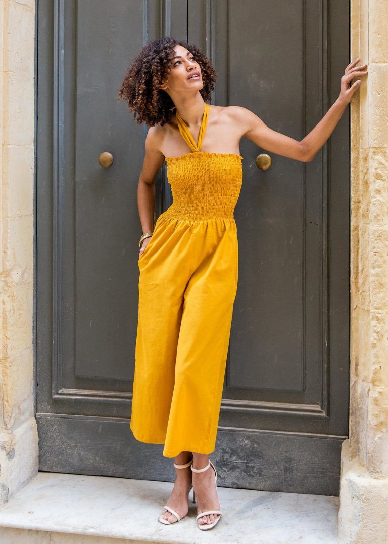 a1dd1a946393 2 in 1 Wide Leg Culotte Jumpsuit and Trousers Yellow