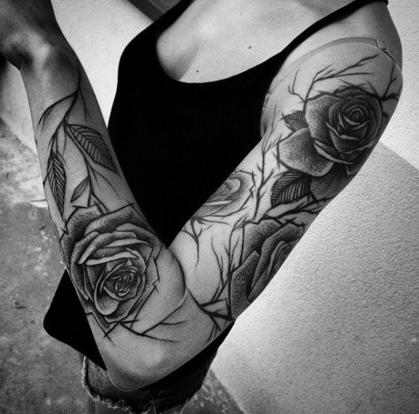 Sketch Style Tattoo Sleeve: Sketch Style Rose Sleeve By Inez Janiak