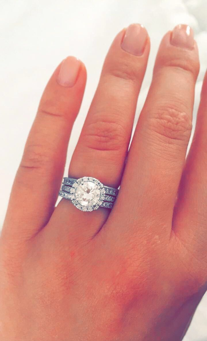 I love my ring! Round cut diamond with halo engagement ring, 2 ...