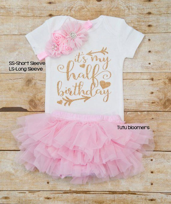 2cc7e8dd0 Half Birthday outfit girl, Birthday outfit, It's my Half Birthday, Pink and gold  outfit, 6 month out