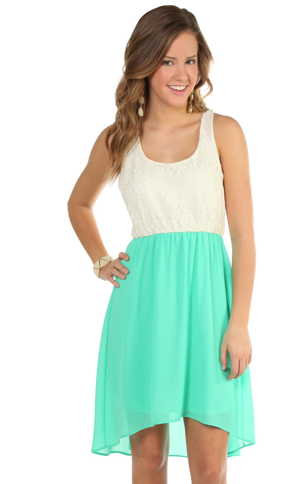Deb Shops #mint racer back day #dress with #lace bodice and chiffon ...