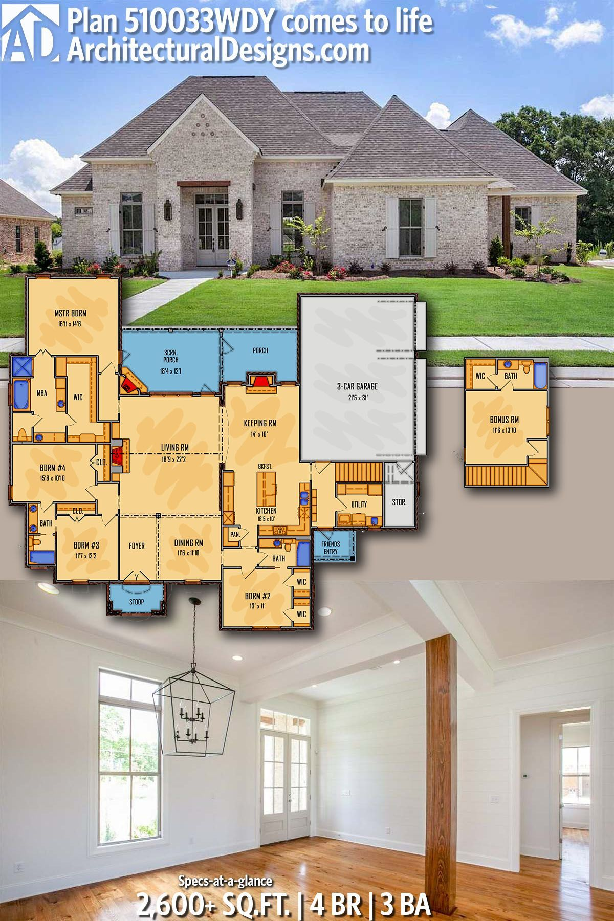 Can Work With This If Bedrooms To Side Are Study And Media And A Staircase Between Livin Architectural Design House Plans New House Plans Craftsman House Plans