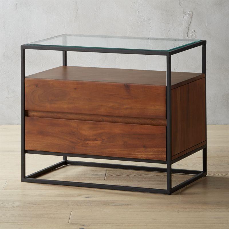 Best Shop Crawford Glass Top Nightstand Boxy Black Iron Frame 640 x 480
