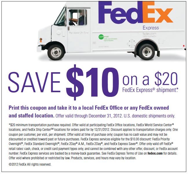 10 Off A 20 Fedex Express Shipment Bargain Hound Daily Deals Printable Coupons Fedex Express Coupons