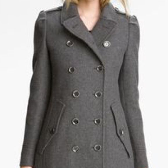 Burberry Brit Grey Wool Coat With Back Pleats Sz 4