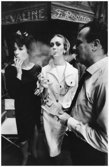 Actress Shirley MacLaine, model Ina Balke and actor Jack Lemmon on the set of the film Irma la Douce. Photo: Jeanloup Sieff, Harper's Bazaar, 1962.
