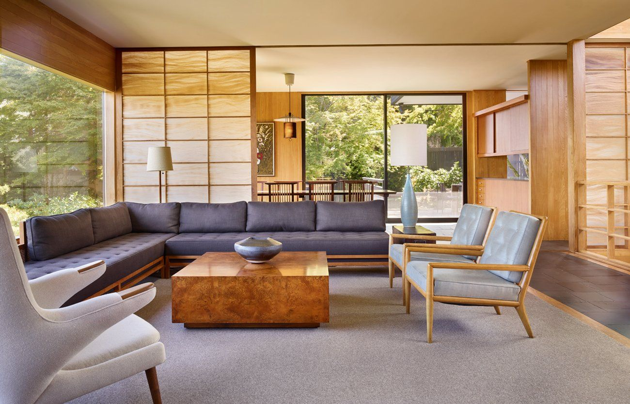 Inside the Dowell Residence, a key element of the dwelling is its central atrium—a dramatic space, top-lit by clerestory windows, which doubles as a circulation hub and light well while also forming a focal point over both levels of the building. #dwell #midcenturymodern #dominicbradbury #midcenturydesign #moderndesign