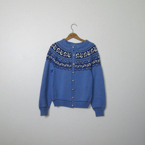 Vintage 1950s 1960s Women's Norwegian Fair Isle Hand Knitted All ...