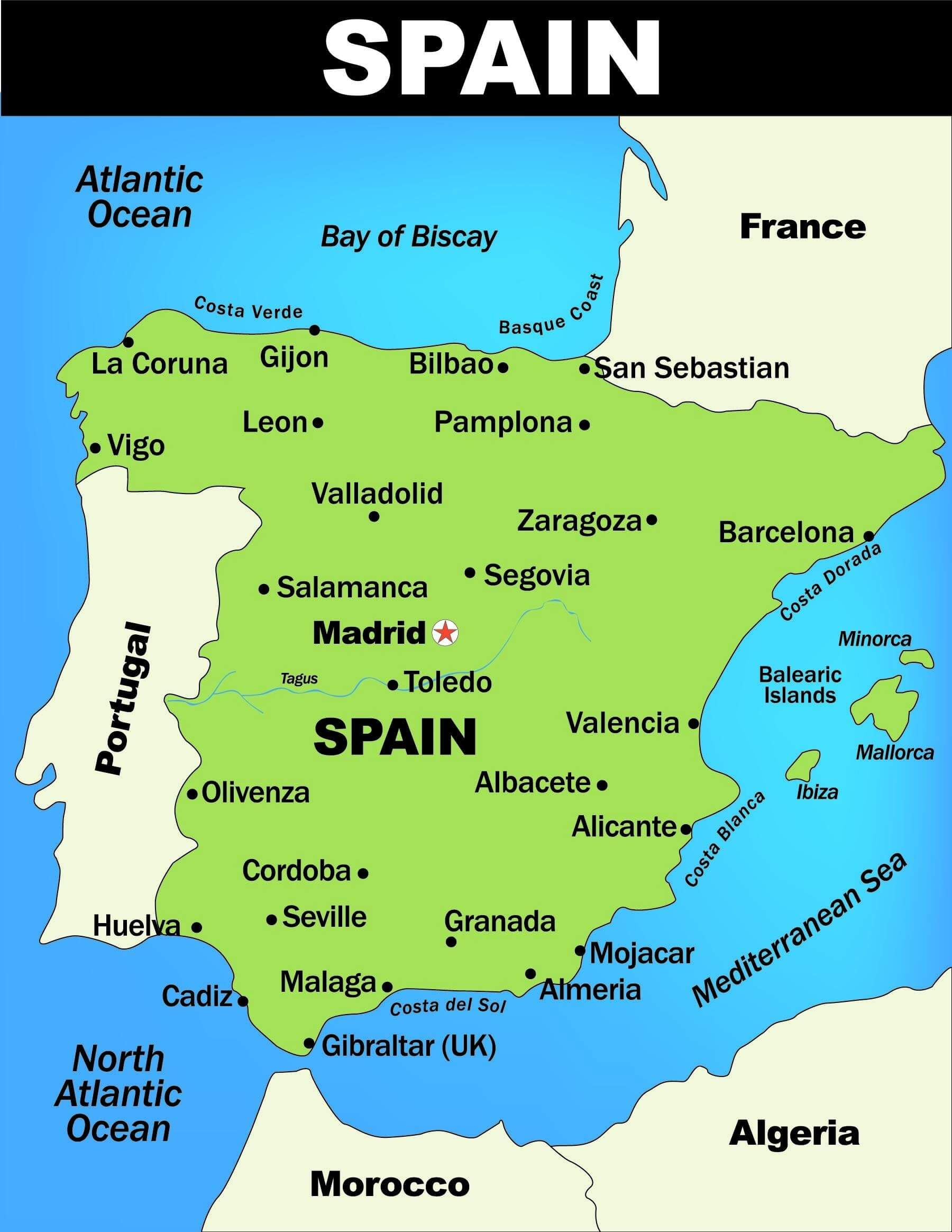 Spain Map Worksheets   Printable Worksheets and Activities for Teachers [ 2329 x 1800 Pixel ]