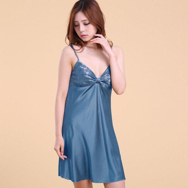 bd4224762cdcf Sling Satin Nightgown Faux Silk Nightwear Satin Nightdress for Women Night  Wear Sleepwear White Sleep Shirt Home Dress SY006 10