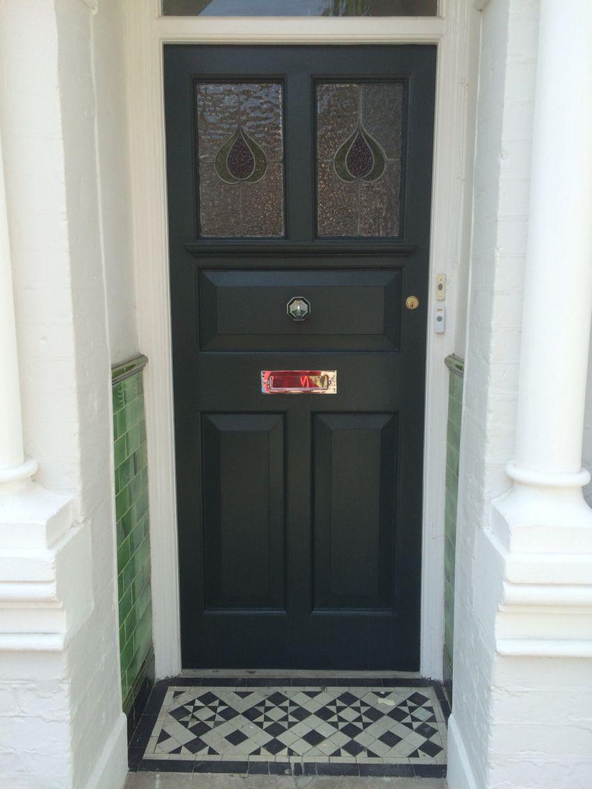Our Restored Front Door In Studio Green Farrow And Ball Green Front Doors Painted Front Doors Front Door Farrow And Ball