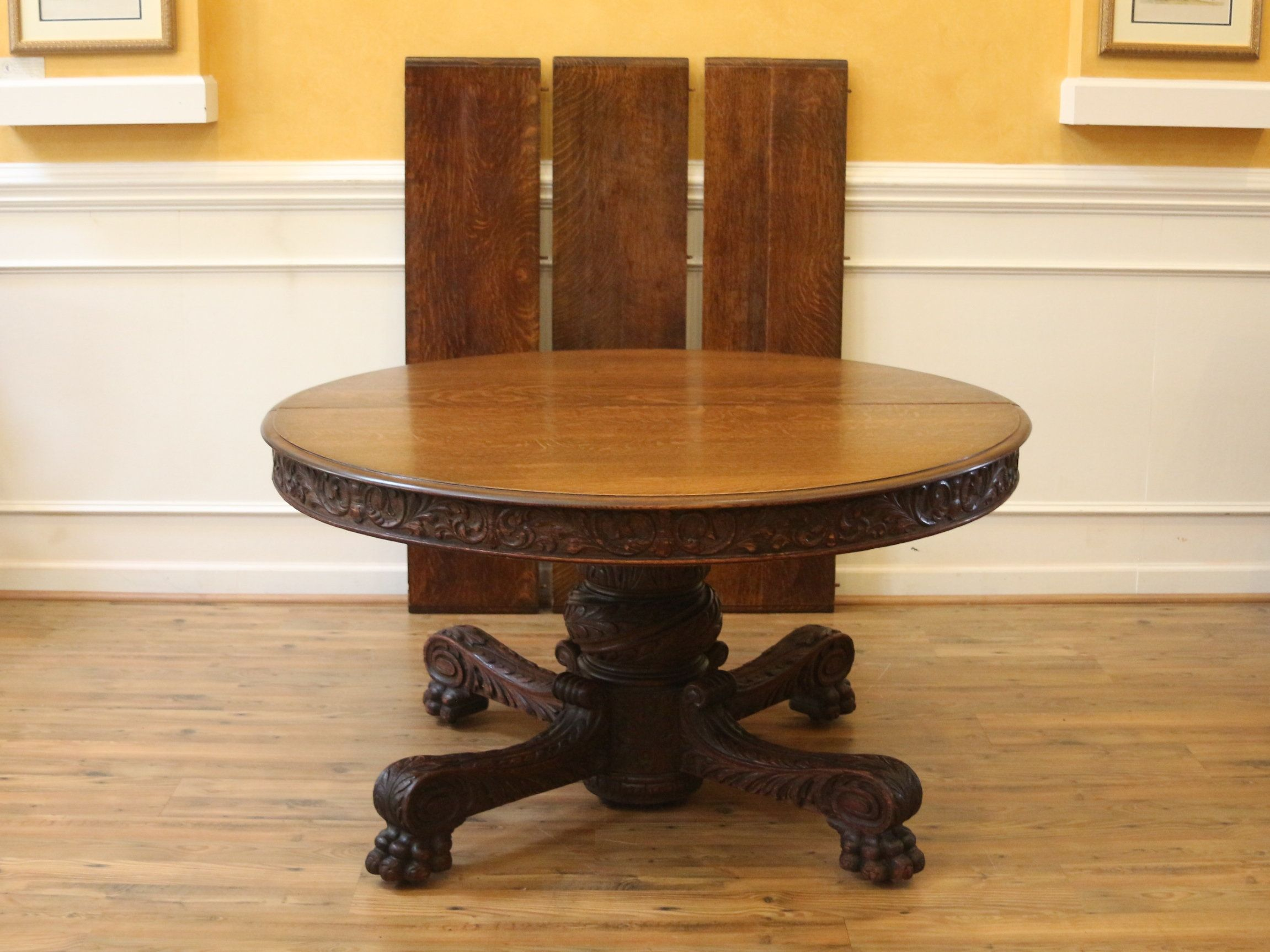 Antique 54 Round Pedestal Dining Table Heavily Carved Solid Oak