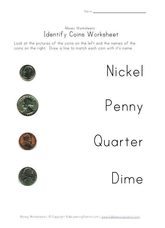 coin names color worksheet | Math | Pinterest | Worksheets, Kids ...