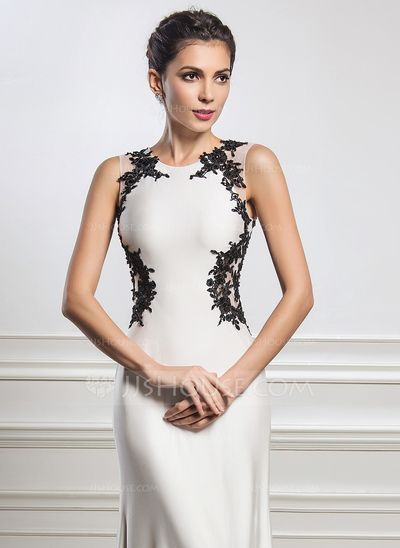 Trumpet/Mermaid Scoop Neck Sweep Train Beading Appliques Lace Sequins Zipper Up Regular Straps Sleeveless No Ivory Spring Summer Fall General Plus Jersey Evening Dress