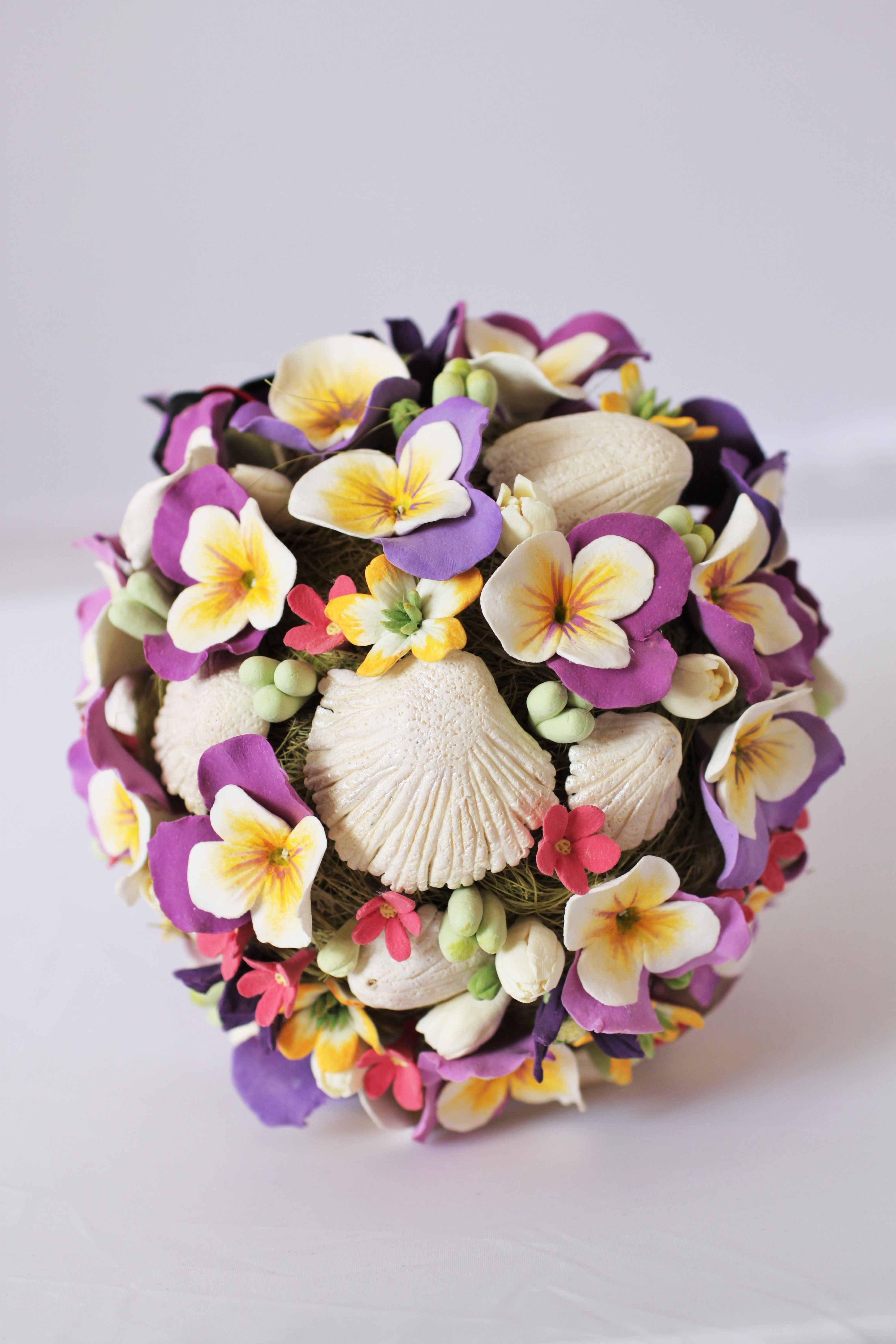 Pomander ball made with combination of deco clay flowers and shells pomander ball made with combination of deco clay flowers and shells izmirmasajfo