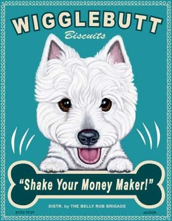 Westie Wigglebutt Biscuits Retro Pets Dog Advertising Print  8 Inch x 10 Inch