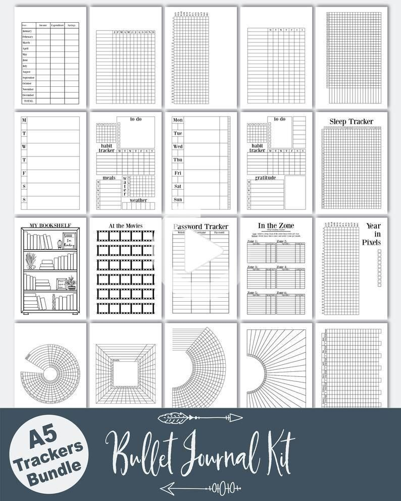 A5 Planner Inserts / Bullet Journal Kit, bujo mood tracker,  book trac