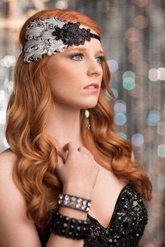 Black Great Gatsby Headband, Flapper Headpiece, Roaring 20s White & Black Feathers with Black Beaded Headband on Etsy, $35.00
