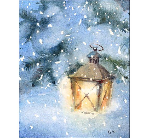 cozy winter lantern watercolor original painting by. Black Bedroom Furniture Sets. Home Design Ideas