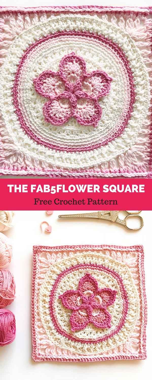 The Fab5Flower Square [ FREE CROCHET PATTERN | Maggie\'s Crochet ...