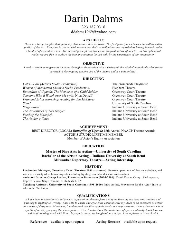 Directing resume resume