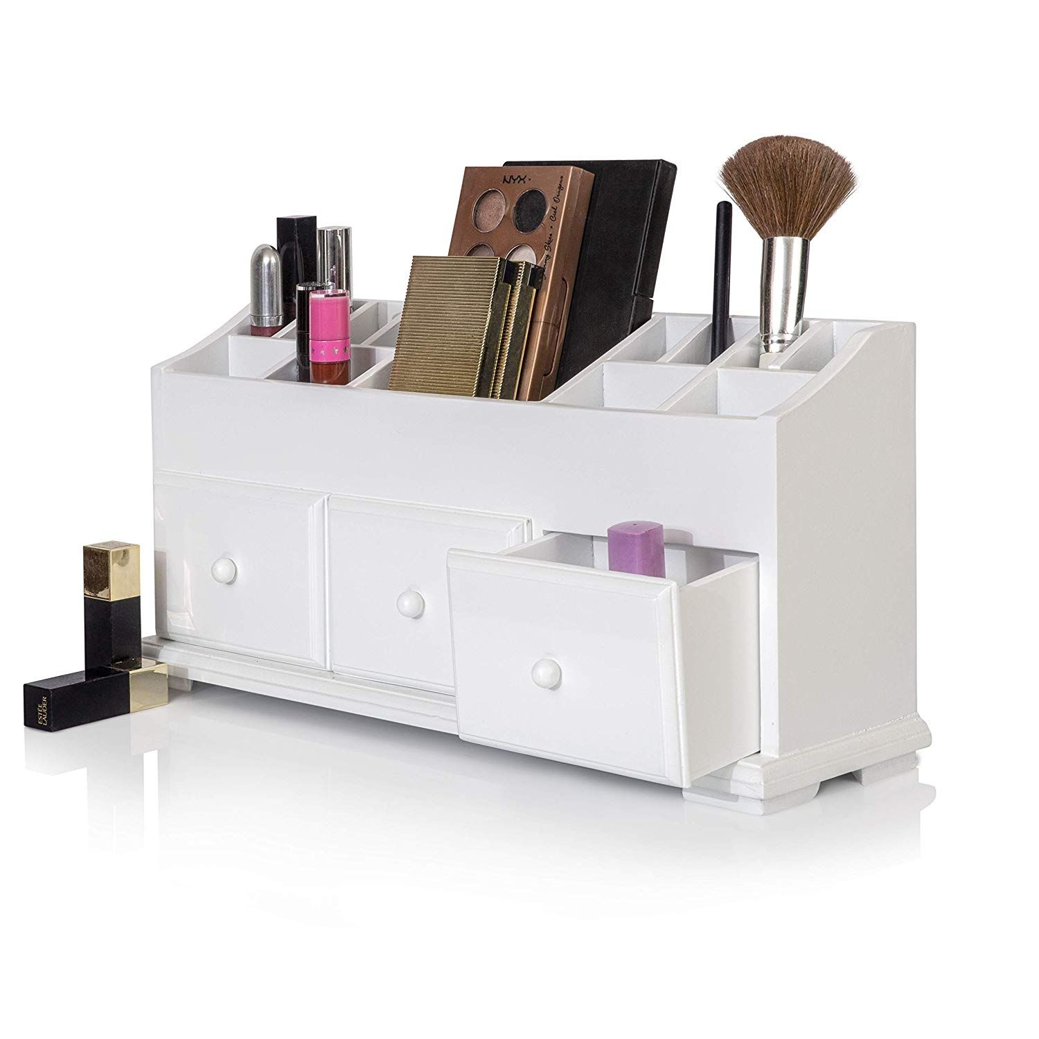 Vanity Drawer Beauty Organizer 3 Drawers - Wooden Cosmetic ...