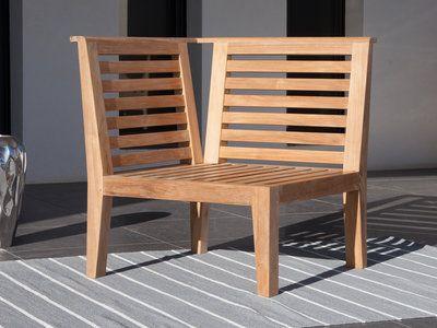 Fauteuil du0027angle pour canapé de jardin en Teck Brut LOVAZZI - salon d angle de jardin