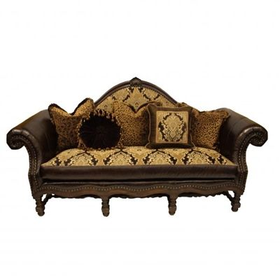 Old World Tuscan Style Leather Fabric Carved Wood Sofa Www Crownjewel Design