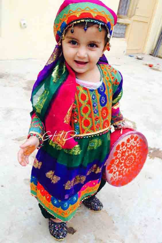 Blue and green pathani dresses for baby girls and baby