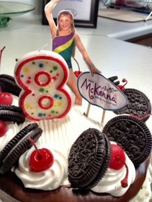 Our American Girl McKenna Gymnastics Birthday Party Cake Was A Publix Ice Cream That I Decorated With Cut Outs Printed From The