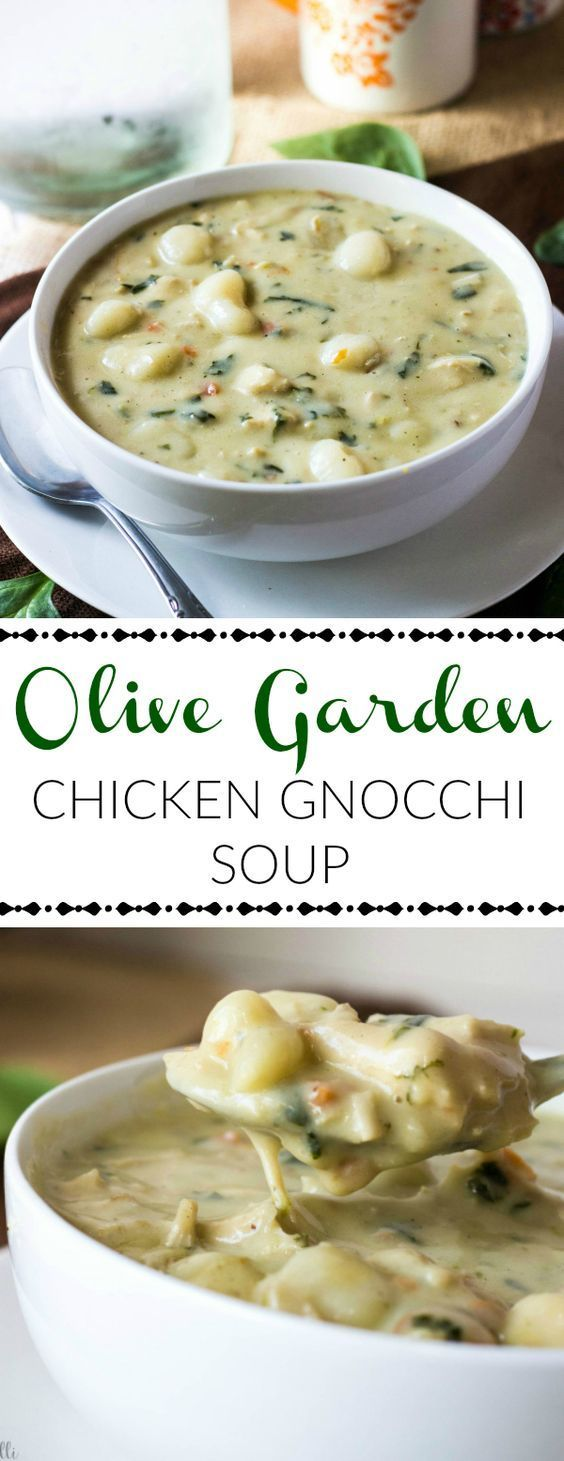 Garden Chicken Gnocchi Soup This Olive Garden Chicken Gnocchi Soup is a creamy and delicious dinner option full of veggies, chicken and gnocchi!This Olive Garden Chicken Gnocchi Soup is a creamy and delicious dinner option full of veggies, chicken and gnocchi!