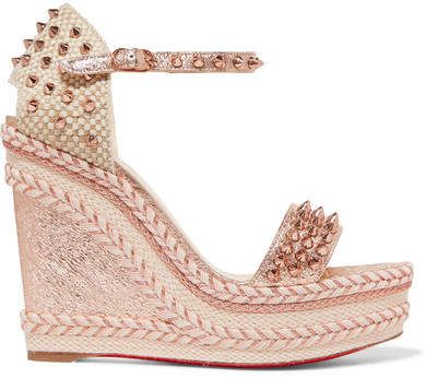 ffdc32e2ca01 Christian Louboutin - Madmonica 120 Spiked Metallic Cracked-leather  Espadrille Wedge Sandals - Pink