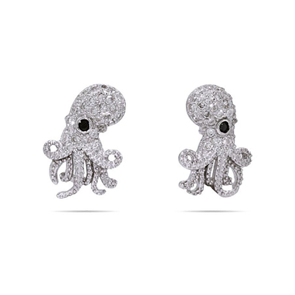 ab26c1519 These octopus stud earrings are sure to put some ocean-inspired glitz in  your life! Each earring features a detailed octopus design, studded with  round ...
