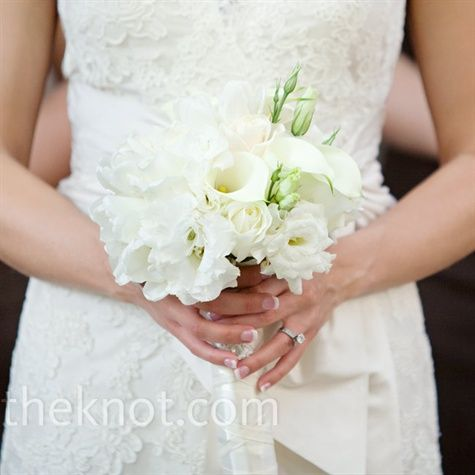 bouquet of white mini calla lilies, tulips, dahlias, and roses- but would want it larger